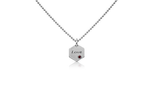 "Honeycomb ""Love"" Pendant with Ruby in Sterling Silver PN 061 RU"
