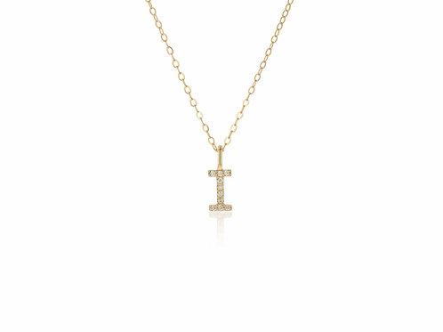 14K Gold diamond letter I necklace