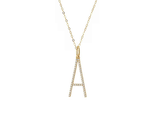 14K Gold Oversized Letter A w/ adjustable cable chain