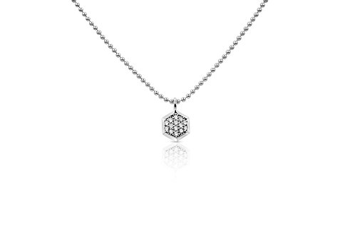Honeycomb Pendant with  White Sapphires in Sterling Silver PN 056 WS