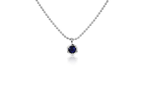 Honeycomb Pendant with Blue Sapphire in Sterling Silver PN 062 BS