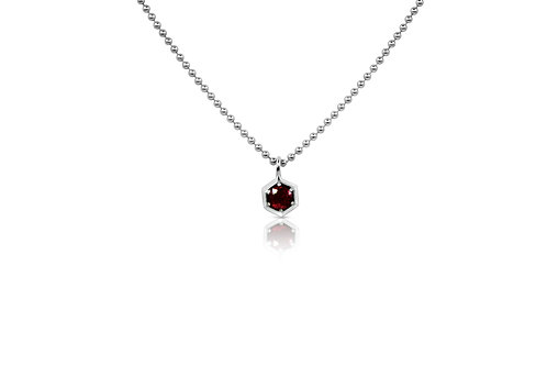 Honeycomb Pendant with Rubies  in Sterling Silver  062 RU