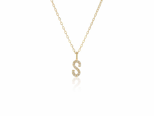 14K Gold diamond letter S necklace