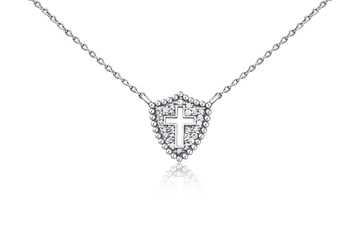 Small Shield Cross Necklace in Sterling Silver w/ diamonds PN 010 SM