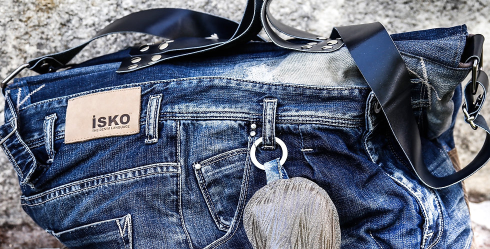 LUNIKAFACTORY Borsa Jeans con portachiavi e pochette
