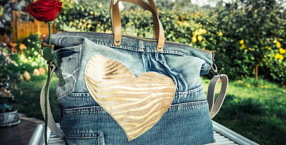 LUNIKAFACTORY Borsa Jeans con inserto cuore in cavallino