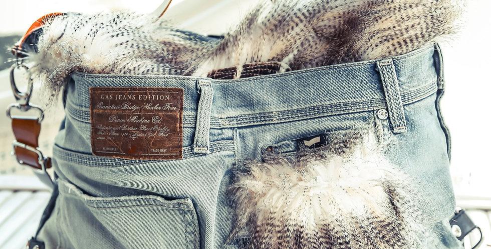 LUNIKAFACTORY Borsa Zaino Jeans-pelle-pelliccia sintetica