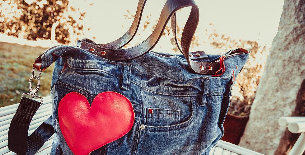 LUNIKAFACTORY Borsa Jeans con inserto cuore in pelle rossa