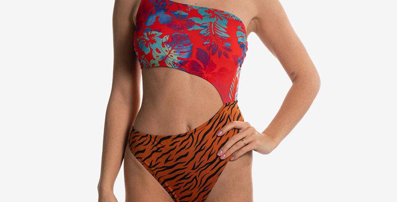 SEAY - Costume intero red flower orange tiger