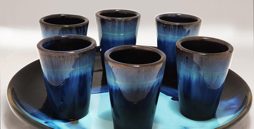 LITTLE STREET Set piatto e bicchieri blu/nero boreali