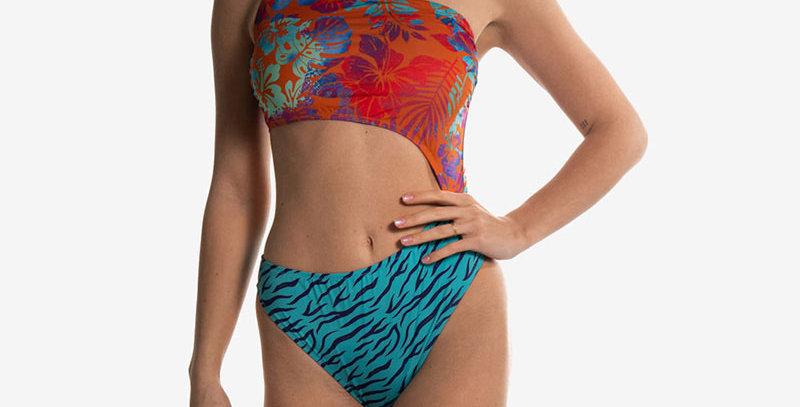 SEAY - Costume intero orange flower blue tiger