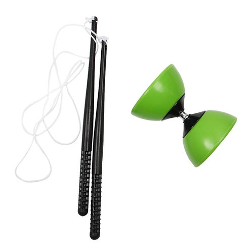 FBIL- Plastic Bowl Diabolo Juggling Spinning  Classic Toy With Hand Sticks Green