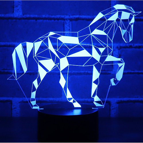 3D LED Night Light Jigsaw Horse Puzzle With 7 Colors Light for Home Decoration
