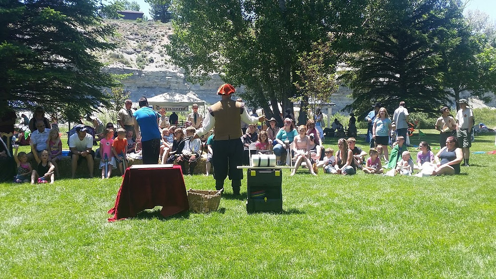 Medieval magic show I did in Wyoming for a medieval fair.  That was a fun one, we couldn't fit the whole audience in the picture!