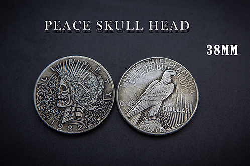 PEACE SKULL HEAD COIN by Men Zi Magic