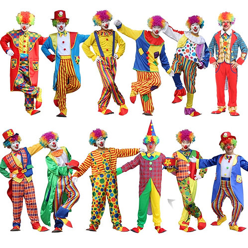 Halloween Men Costumes Funny Circus  Naughty Harlequin Uniform Men Costume Fancy