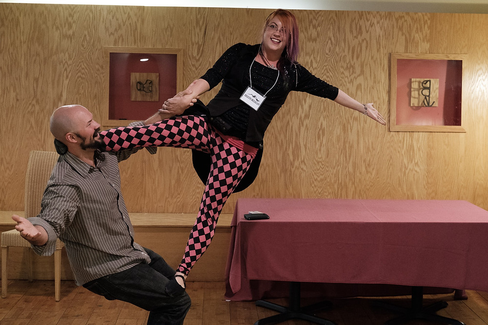 Acrobatics at the secret magicians convention!