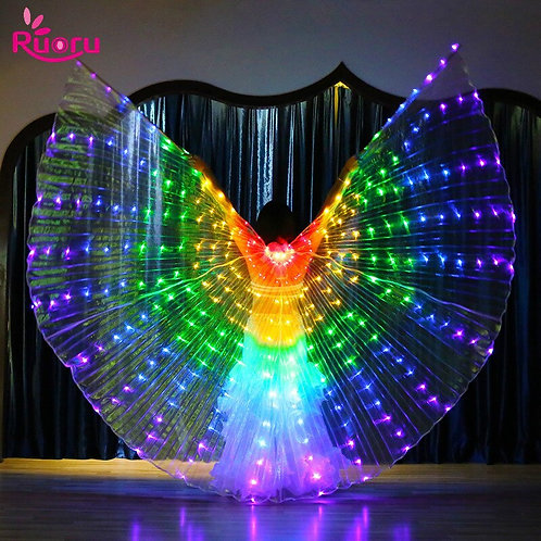 Ruoru Rainbow Color Alas Angle Led Wings Adult Led Costume Circus Led Light