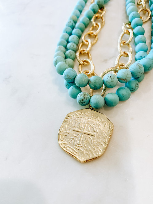Multi Strand Turquoise + Coin Necklace