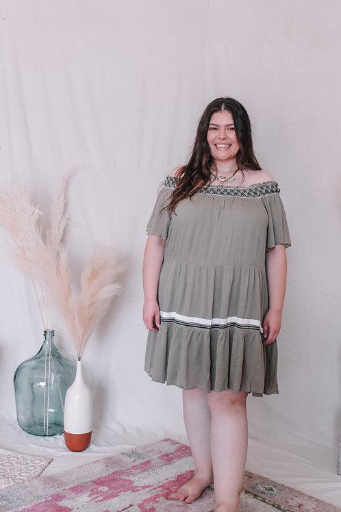 Sage Off the Shoulder Dress