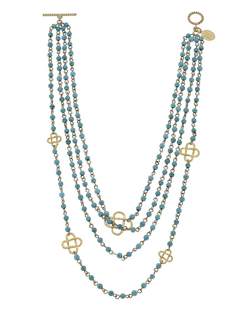 Multi Strand Turquoise + Clover Necklace