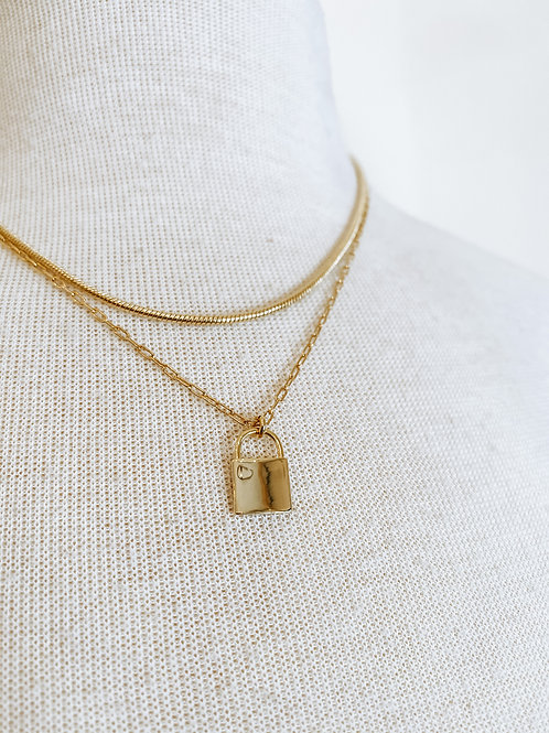 Two Tier Gold Tone Lock Necklace