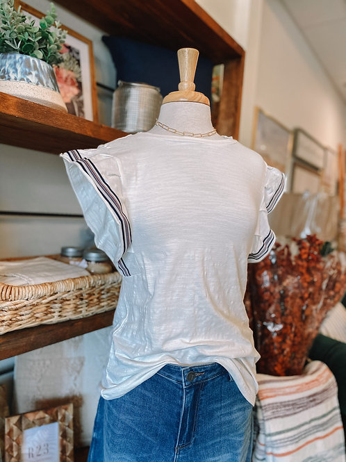 White Striped Sleeve Top