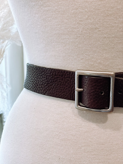 Pebbled Boyfriend Leather Belt