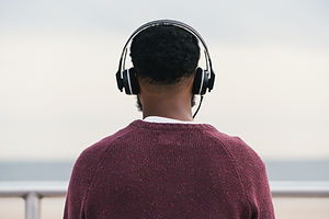 Man listening to headphones