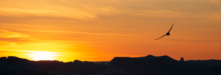 Zonsondergang boven Groenland