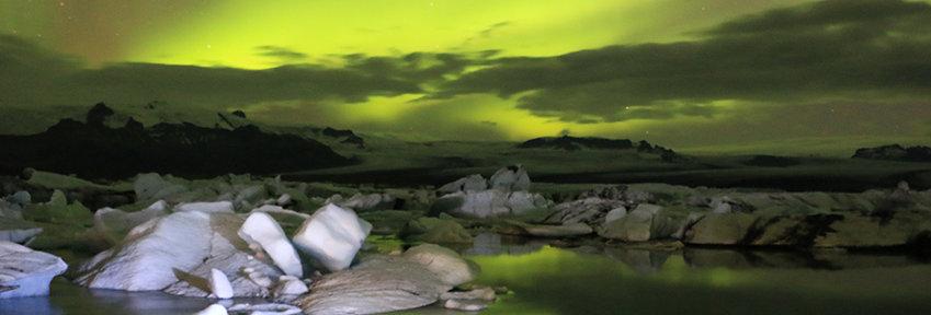 Aurora Borealis boven Jokulsarlon lagune - Ijsland