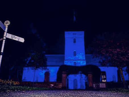 Yester Kirk goes blue to thank our carers