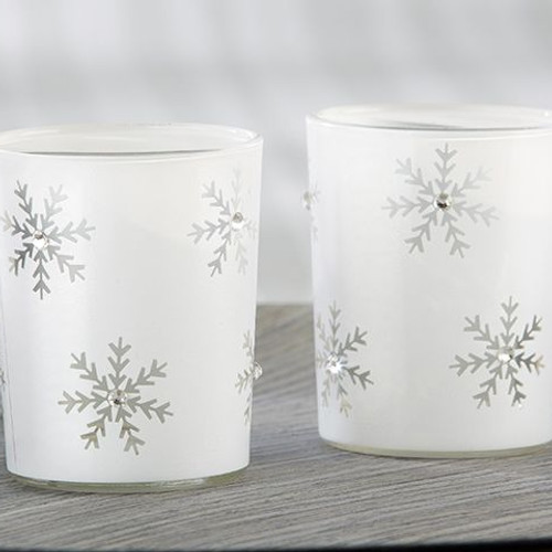 sparkling snowflake glass tea light holder set of 4