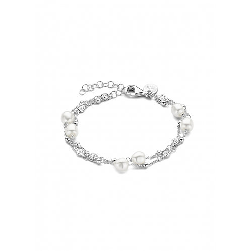 Casa armband PRUTS PEARL DUO ZILVER AB