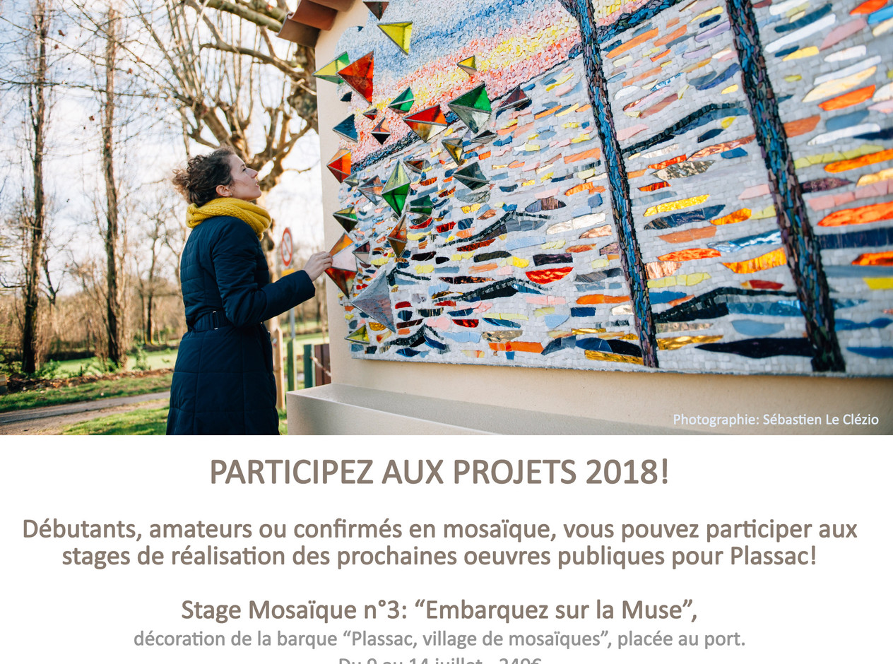 """Les stages """"Plassac, village de mosaïques """" c'est repartit pour 2018. Inscrivez-vous!"""