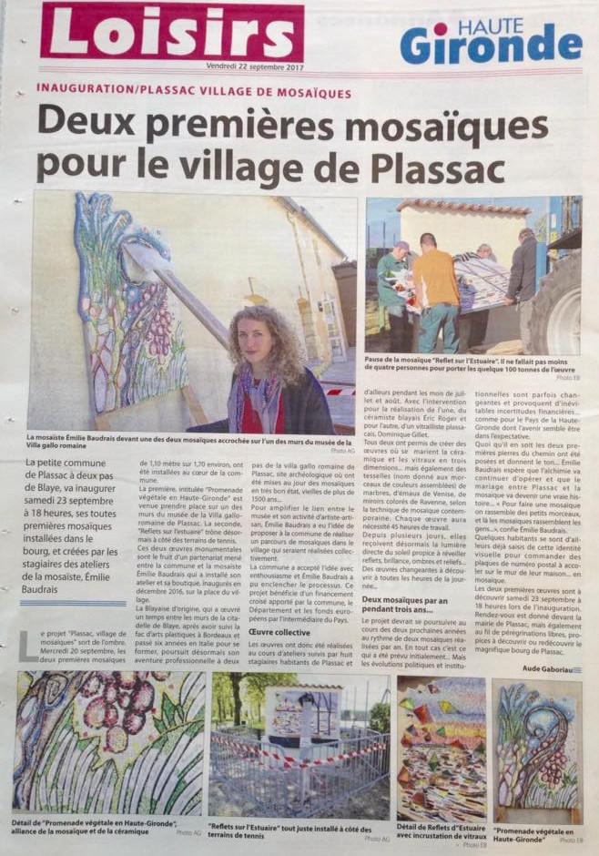 """Article dans le journal """"Haute-Gironde"""""""