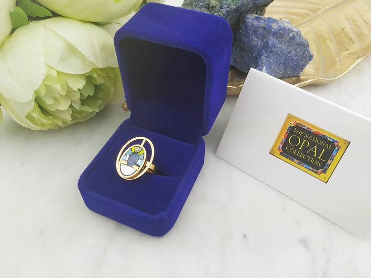 Bague double ovales Opale d'Australie