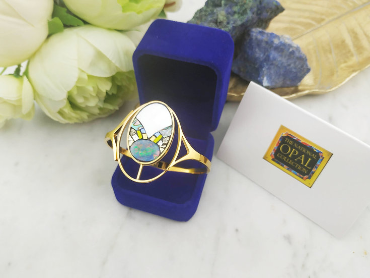 Grand bracelet doubles ovales Opales d'Australie
