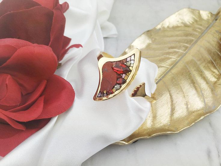Bracelet grand ginko Jaspe rouge