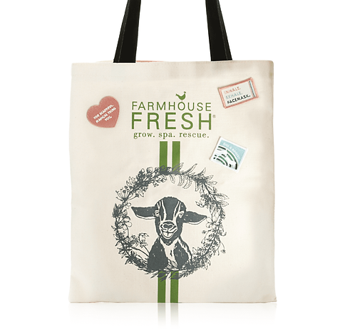 FHF Gifting Tote with Goat Print and PatchesFHF Gifting Tote with Goat Print an