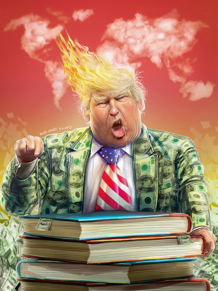 """Iranian """"Trumpism"""" Cartoon Competition Winner Nails It with Depiction of Trump as Cash-Cla"""