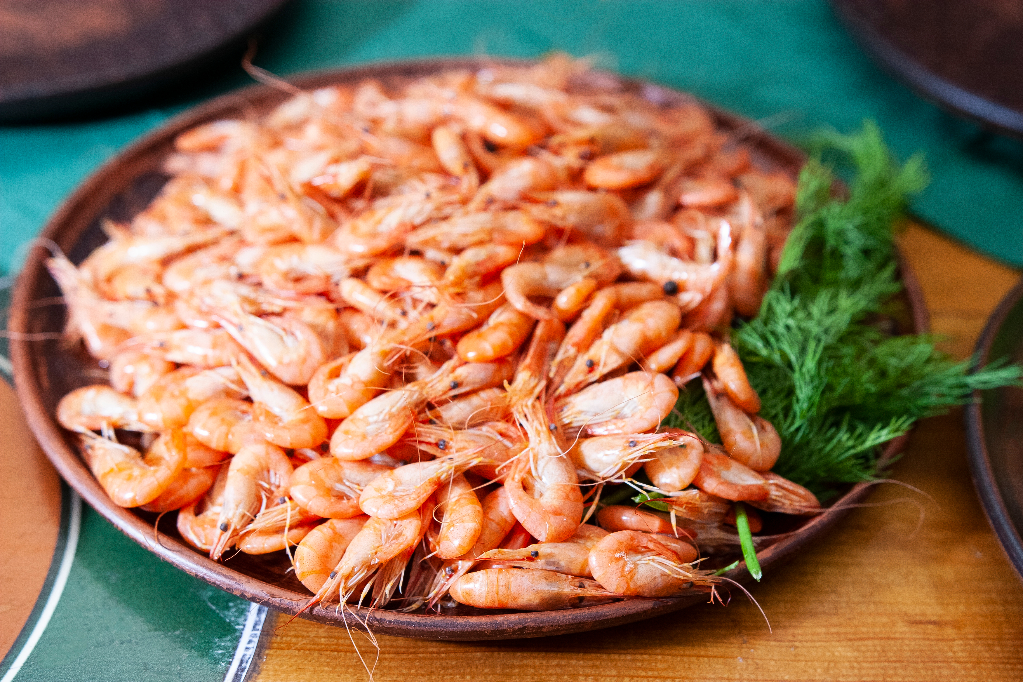 Shrimp. Shrimps lie on a plate