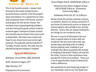 October 2018 News Letter