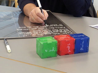Students and Mommark Marina owner testing Tangible Business Cubes
