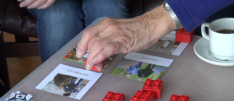 Workshop about falls experience and daily live of an elderly using Lego bricks and pictures to create a more interactive and dynamic interview/workshop