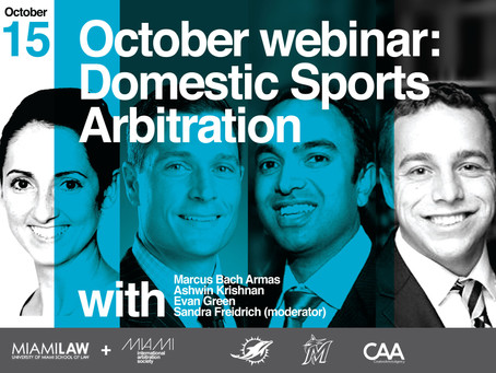 October Webinar: Domestic Sports Arbitration – Experiences from the NFL and MLB
