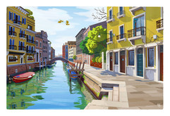 venice-canal-colorful-illustration