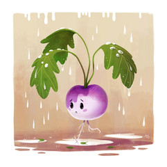 turnip-character-rain-illustration
