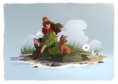 girl-dog-sea-fog-illustration