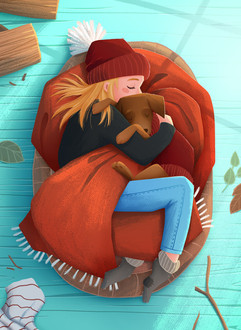 girl-dog-love-snuggling-illustration